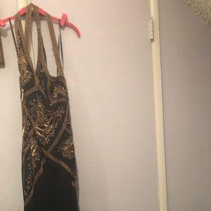 Sexy evening gown, hand beaded, floor length